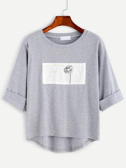 Sweatshirt Drop Schulter Stickereien Patch-hellgrün