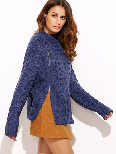 Blue Cable Knit Double Zip Front Sweater