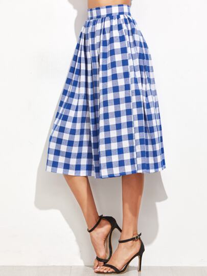 Blue Gingham Pleated Midi Skirt