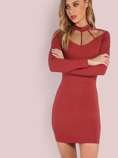 Choker Neck Bar Strap Sleeved Dress RUST