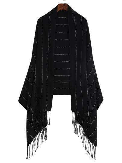 Чёрный полосатый шарф шалью с бахромой