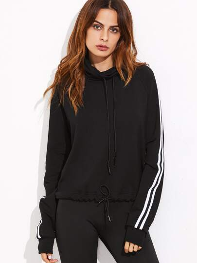Black Striped Sideseam Cowl Neck Drawstring Hem Sweatshirt