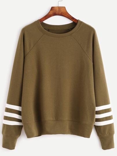 Olive Green Varsity Striped Sleeve Sweatshirt