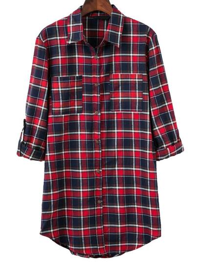 Red Plaid Curved Hem Blouse With Pocket