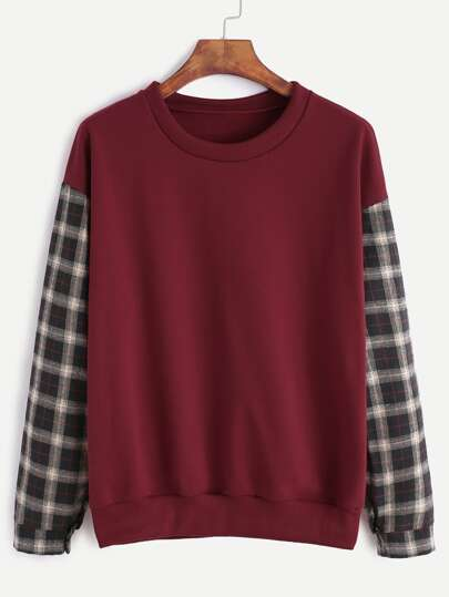 Sweat-shirt contrasté manche en tartan - bordeaux