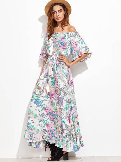 Multicolor Printed Off The Shoulder Fringe Detail Dress