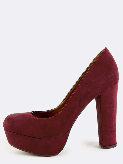 Platform Faux Suede Chunky Pumps BURGUNDY