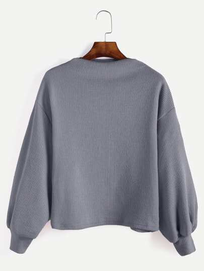 Grey Ribbed Lantern Sleeve Sweater