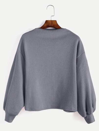 gerippte Pullover Laterne Ärmel-grau