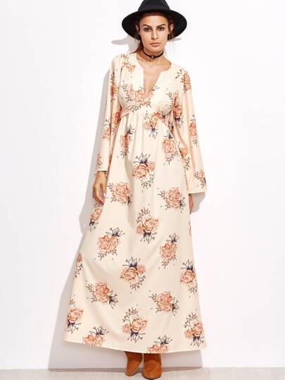 Robe imprimé floral avec lacet - rose