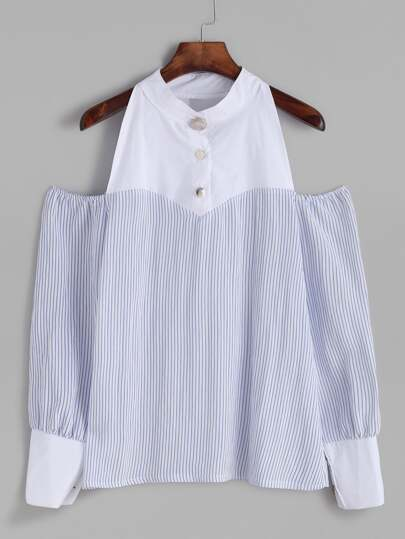 Blue Vertical Striped Contrast Trim Top