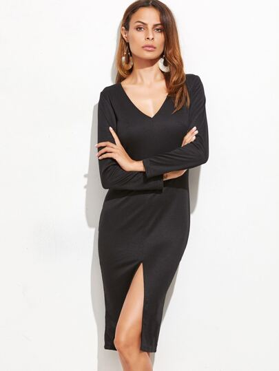 Black V Neck Slit Front Sheath Dress