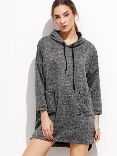 Dark Grey Slit Side High Low Hooded Dress