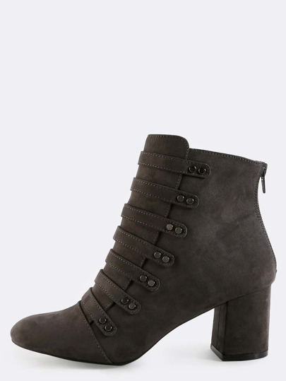 Military Inspired Suede Booties CHARCOAL