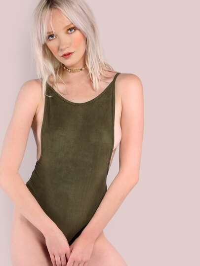 Green Scoop Back Cami Bodysuit