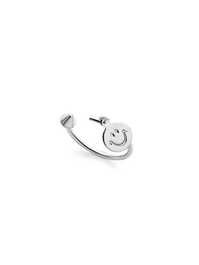Silver Plated Smiley Face Open Wrap Ring
