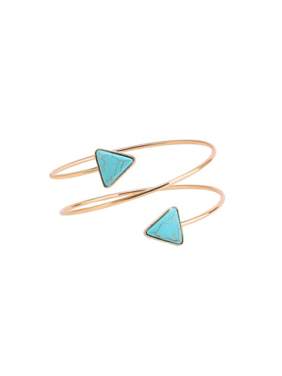 Gold Plated Turquoise Arrow Spiral Arm Cuff