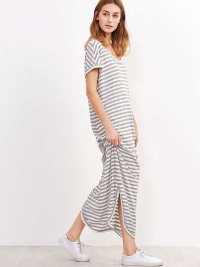 Grey And White Striped Curved Hem Ribbed Dress