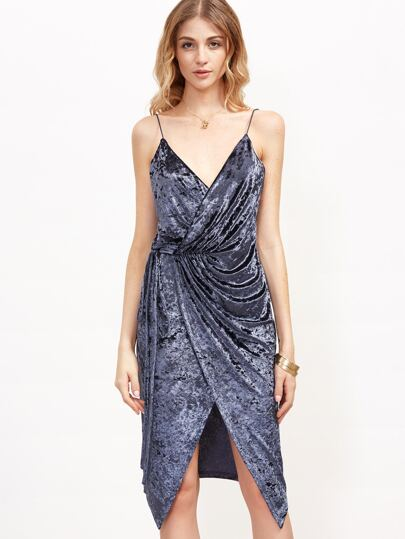 Navy Velvet Surplice Wrap Cami Dress