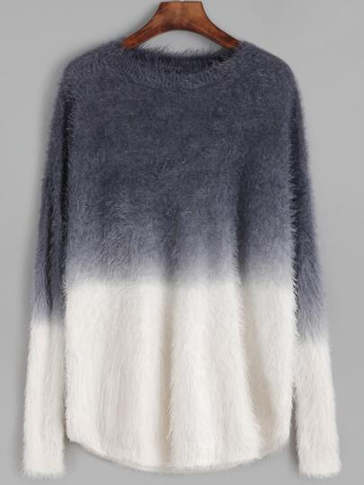 Ombre Drop Shoulder Fuzzy Sweater