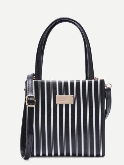 Black and White Stripe Metal Patch Fashion Tote With Strap