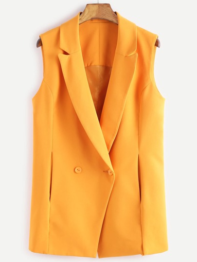 Yellow Double Breasted Sleeveless Blazer