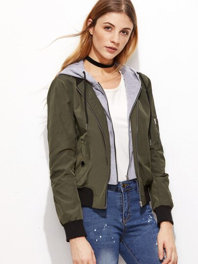 Olive Green Contrast Hood 2 In 1 Bomber Jacket