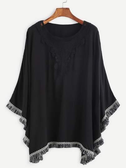 Black Crochet Trim Fringe Hem Cape Top