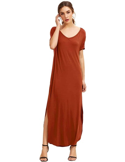 Orange Short Sleeve Pocket Split Side Dress