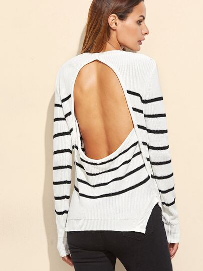 White Striped Buttoned Shoulder Cutout Sweater