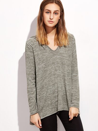 Striped Hooded Swing T-shirt