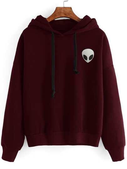 Burgundy Alien Print Hooded Sweatshirt
