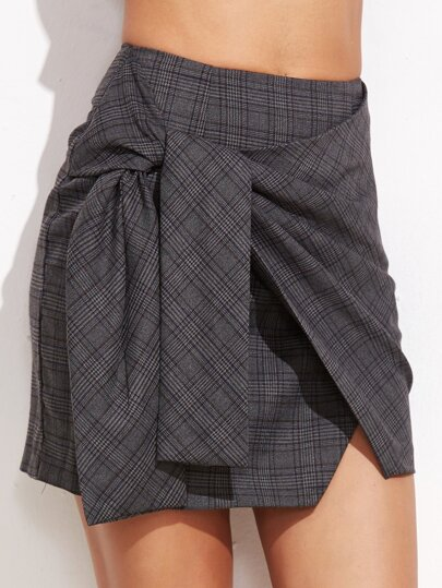 Glen Plaid Tie Front Skirt