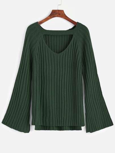 Dark Green Cutout Front High Low Sweater