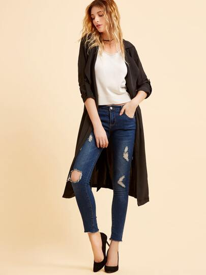 Black Waterfall Collar Trench Coat