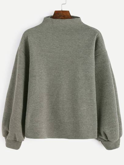 Army Green Ribbed Lantern Sleeve Sweater