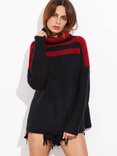 Color Block Ribbed Knit Turtleneck Sweater