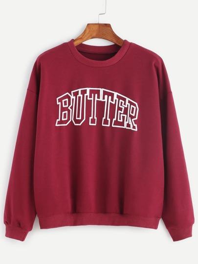 Burgundy Letter Print Drop Shoulder Sweatshirt