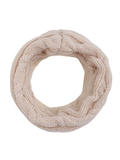 Beige Cable Knit Scarf