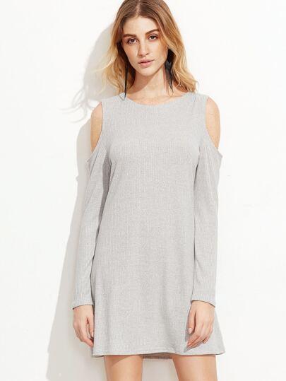 Pale Grey Open Shoulder Ribbed Dress