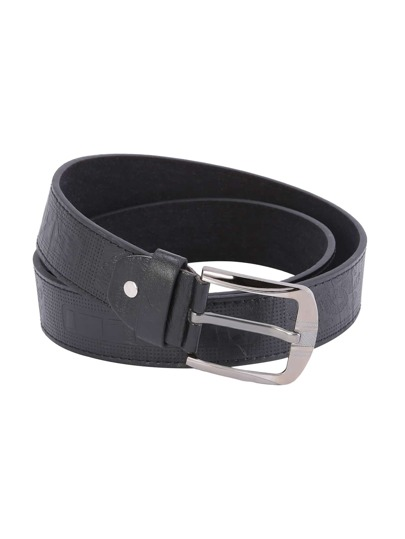 Black Faux Leather Knurling Buckle Belt