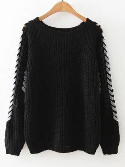 Black Lace Up Raglan Sleeve Sweater