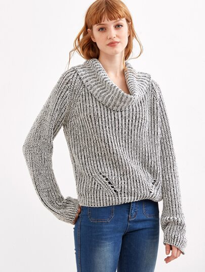 Grey Marled Knit Cowl Neck Multiway Sweater