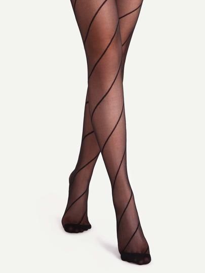 Black Spiral Pattern Sheer Pantyhose Stockings