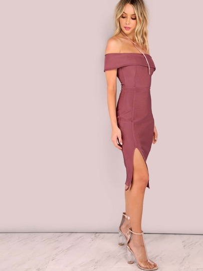 Open Shoulder Bardot Bandage Bodycon Slit Dress MAUVE