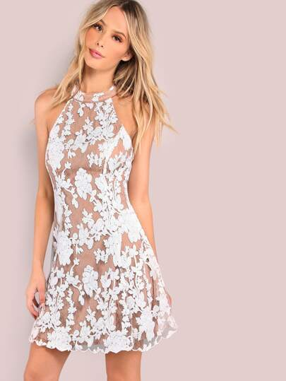 Low Back Sequin Floral Darling Dress WHITE