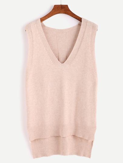 V Neck Slit Side High Low Sweater Vest