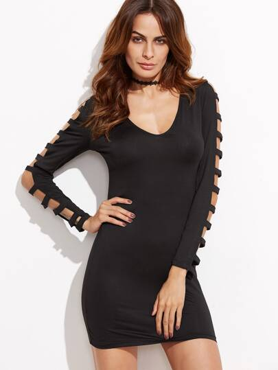 Black Ladder Cut Out Sleeve Sheath Dress