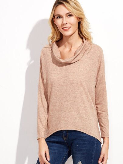 Pink Marled Knit Cowl Neck High Low T-shirt