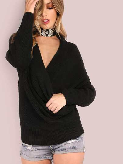 Plunging Wrap Over Knit Sweater BLACK